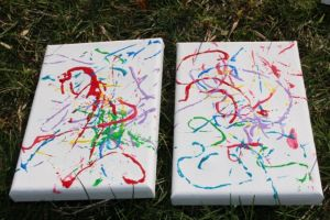 Finished mini-canvases.
