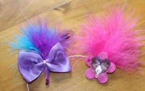 Decorations ready for placement on the headbands.
