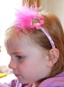 A modelling her headband.