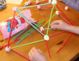 Marshmallow and straw building.