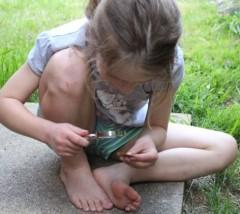 Investigating a leaf.