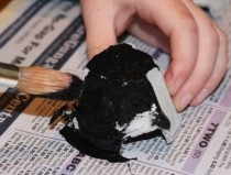 Painting the egg carton cups.