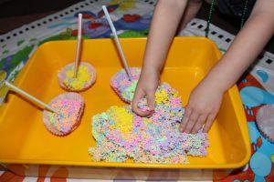 Making cupcakes.