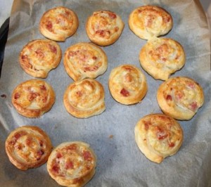 Yummy cheese and bacon pinwheels.