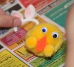 Adding the chick's bunny ears headband.