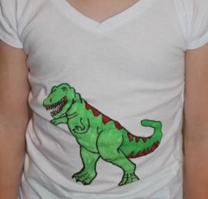 L wearing her dino shirt.