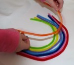 Placing the pipe cleaners.