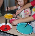 Adding colour to the batter.