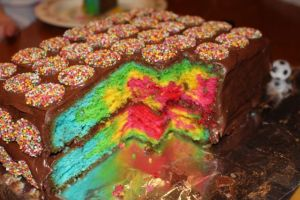 The inside of the cake.