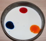 Food colouring and milk in the tin.