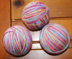 Some of the woolen balls before felting.