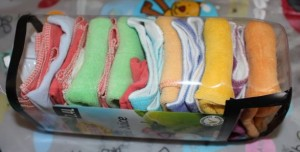 Full of cloth wipes ready for hanging.