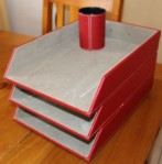 Paperwork trays with matching pen holder.