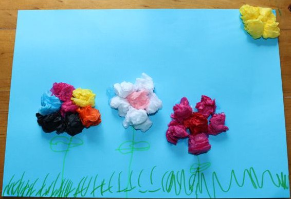 Tissue Paper Flower Art Today We Did