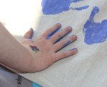 Making hand prints.