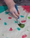 Splotching paint on.