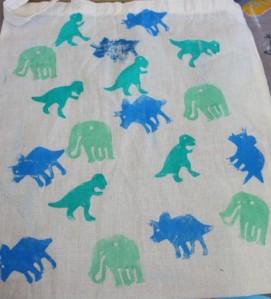 Dinosaur stamped bag.