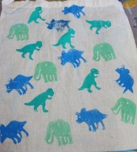 Dinosaur stamped bag.