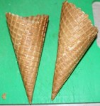 Waffle cones pre-cutting.