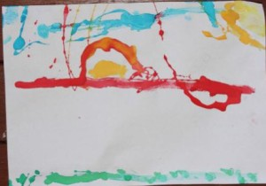 L's finger painting of a red sunset.