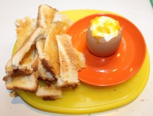 Eggs and soldiers made by L.