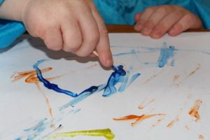 Painting with a cotton bud.